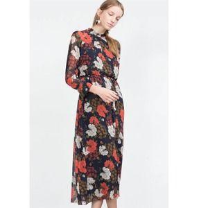 Zara Floral Long Sleeve Maxi Dress Red Navy Blue